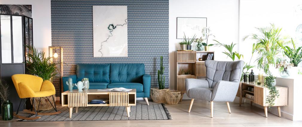Skandinavischer Sessel in hellgrauem Stoff und Holz AVERY- Miliboo  1  Stéphane Plaza
