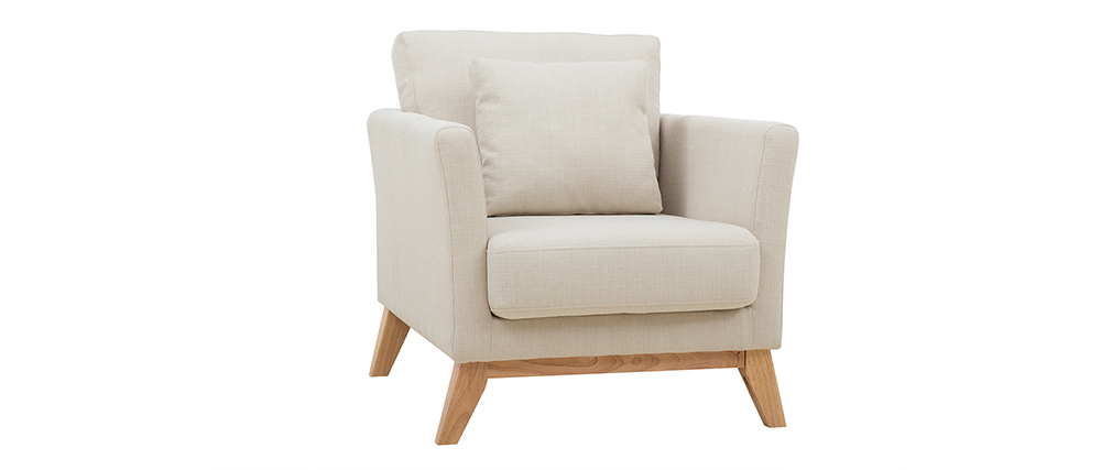 Skandinavischer Sessel mit abnehmbarem Bezug in Velourseffekt in Senf OSLO