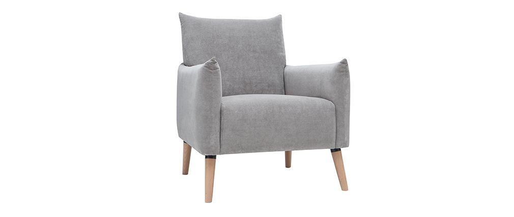Skandinavischer Sessel mit hellgrauem strukturiertem Samteffekt AGAPE