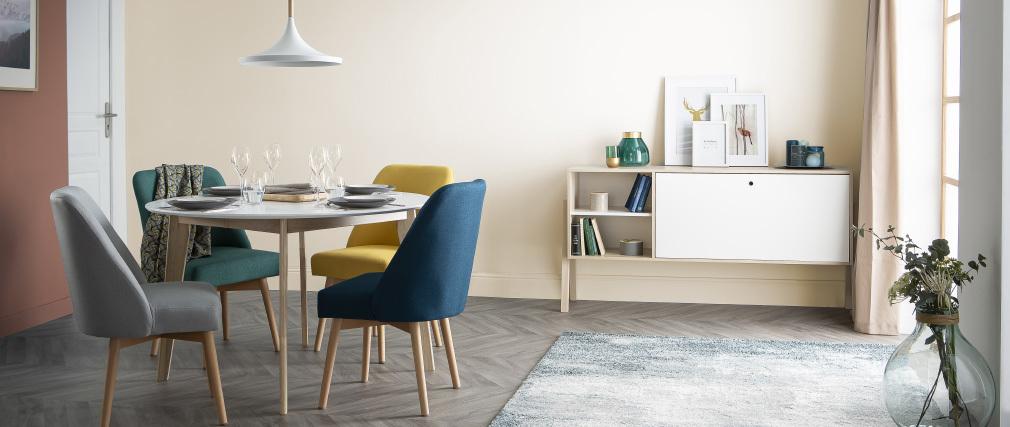 Skandinavischer Stuhl aus khakifarbenem Stoff LIV ? Miliboo |1| Stéphane Plaza