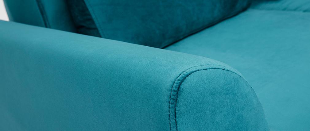 Skandinavisches 2-Sitzer-Sofa in petrol Samt EKTOR
