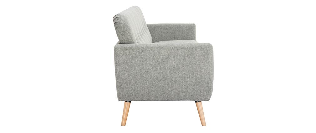 Skandinavisches 3-Sitzer-Sofa in hellgrauem Stoff KYNO