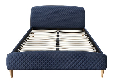 Skandinavisches Bett 160 x 200 cm Stoff Blau NIELS