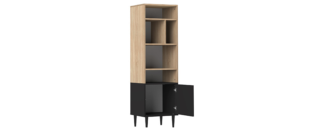 Skandinavisches Bücherregal STRIPE mit 6 Fächern Holz und Schwarz