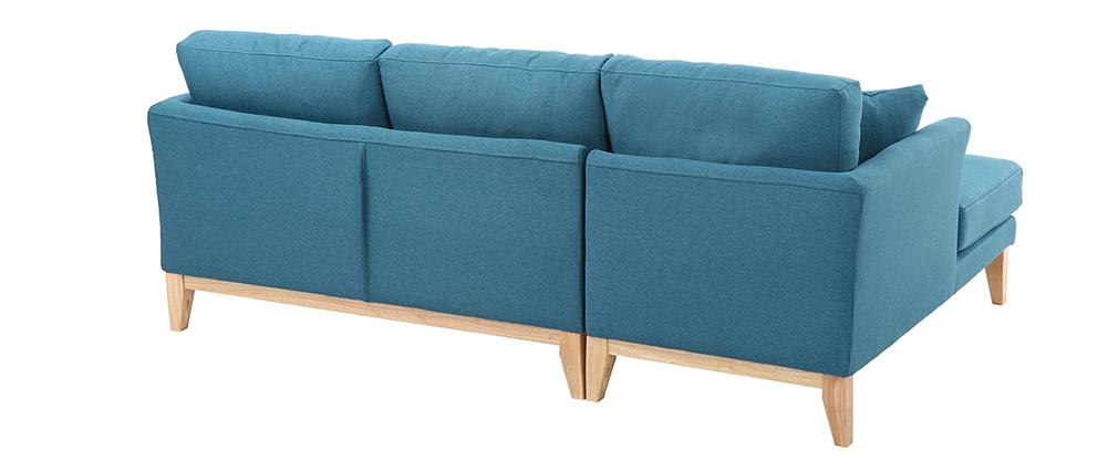 Skandinavisches Ecksofa links OSLO aus blaugrünem, abziehbarem Stoff