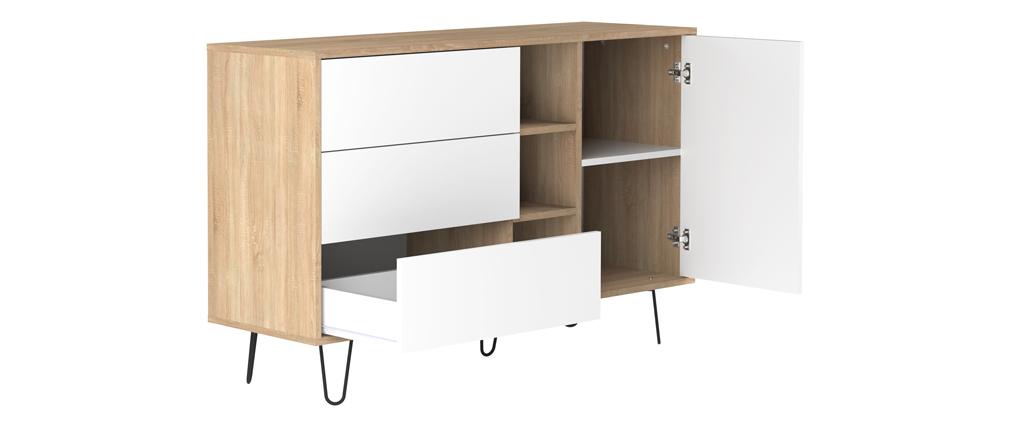 Skandinavisches Sideboard LUMY in Holz und Weiß