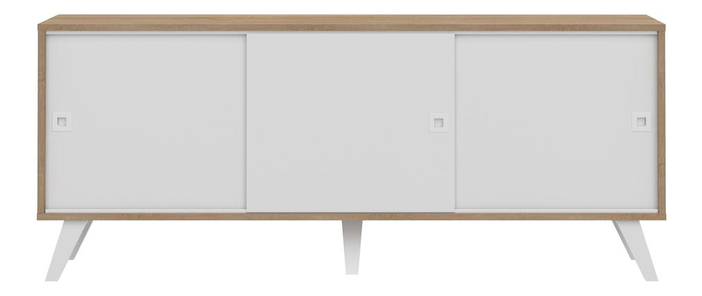 Skandinavisches Sidebord mit 3 Türen Holz und Weiß ORIGAMI