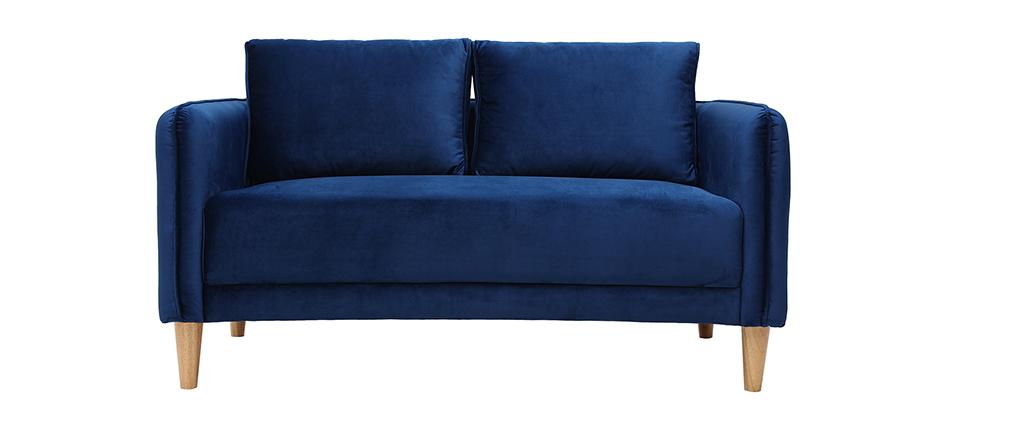 Skandinavisches Sofa 2-Sitzer Samt blau KURT ? Miliboo |1| Stéphane Plaza