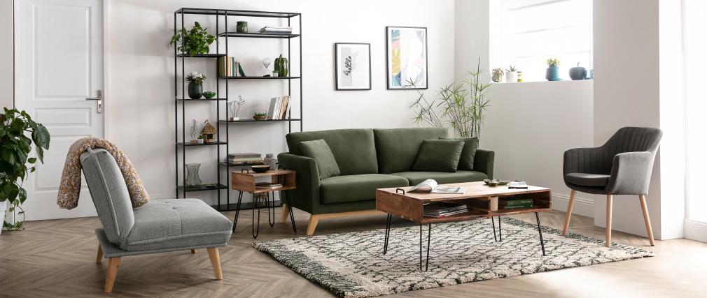 Skandinavisches Sofa 3-Sitzer Bezug abnehmbar Velours-Effekt Khaki OSLO ? Miliboo |1| Stéphane Plaza