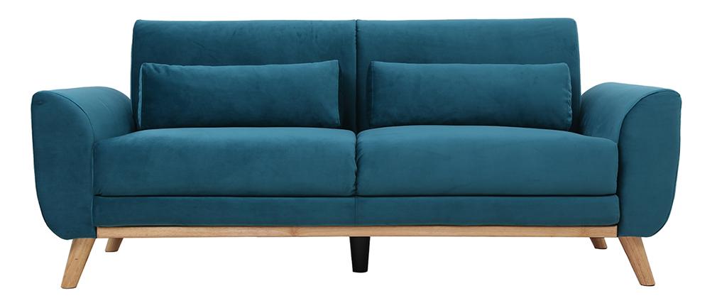 Skandinavisches Sofa 3-Sitzer Velours Petrolblau EKTOR