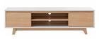 Skandinavisches TV-Möbel Weiß glänzend und Holz LAHTI