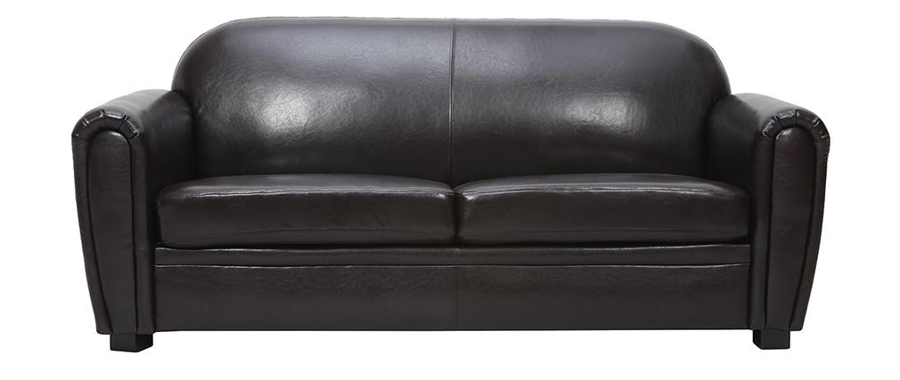 Sofa Club aus dunkelbraunem Leder mit 3 Sitzplätzen - Büffelleder