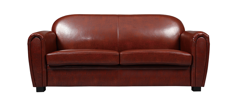 Sofa Club aus hellbraunem Leder mit 3 Sitzplätzen - Büffelleder