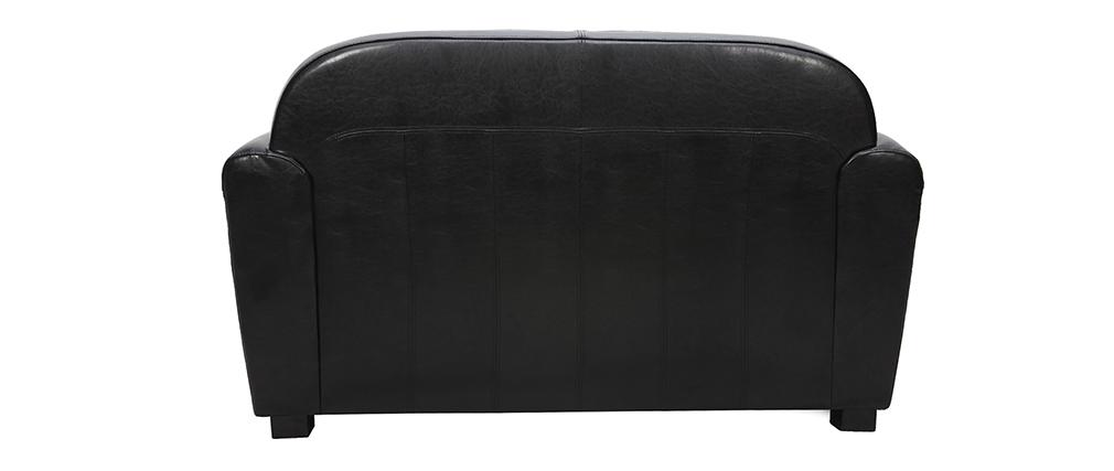 Sofa Club aus schwarzem Leder mit 2 Sitzplätzen - Rindsleder