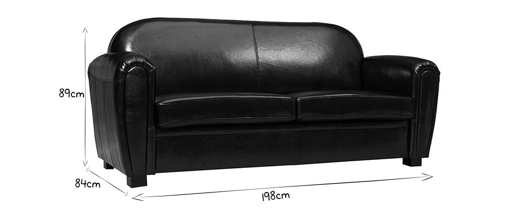 Sofa Club aus schwarzem Leder mit 3 Sitzplätzen - Rindsleder