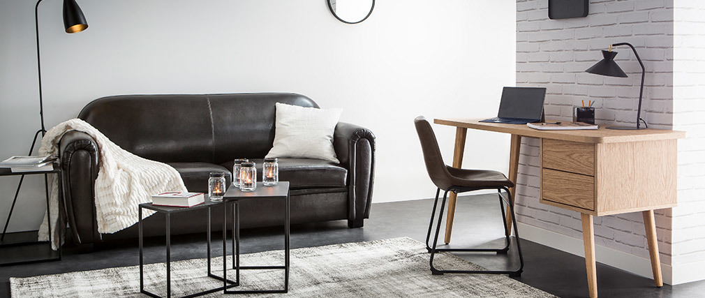 Sofa CLUB verstellbar hellbraunes Leder 3 Plätze - Büffelleder