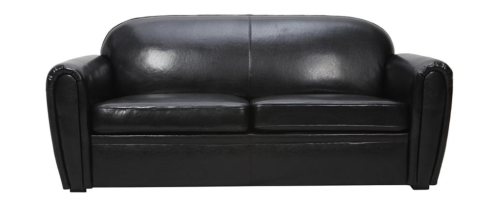 Sofa CLUB verstellbar schwarzes Leder 3 Plätze - Kalbsleder