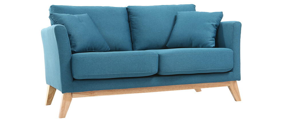 sofa skandinavisch 2 pl tze blaugr n und helle holzbeine oslo miliboo. Black Bedroom Furniture Sets. Home Design Ideas
