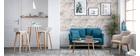 Sofa skandinavisch 2 Plätze Dunkelblau und helle Holzbeine OSLO