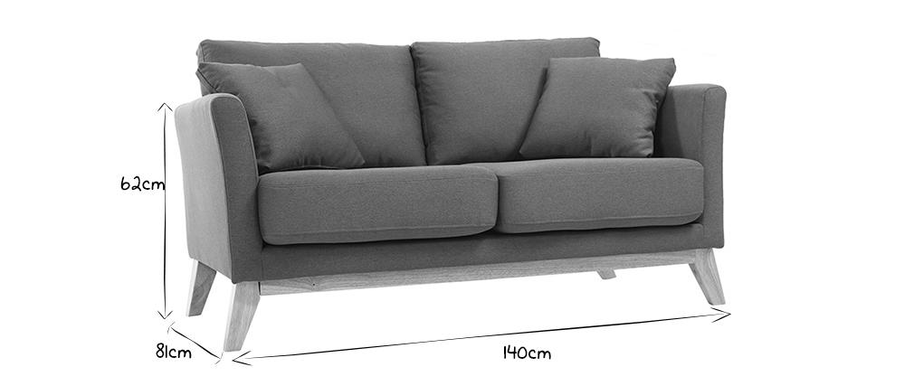 Sofa skandinavisch 2 Plätze Dunkelgrau und helle Holzbeine OSLO