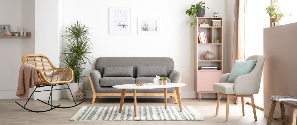 Sofa skandinavisch 2 Plätze Grau Holzbeine YOKO