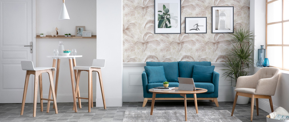 Sofa skandinavisch 2 Plätze Hellgrau helle Holzbeine OSLO