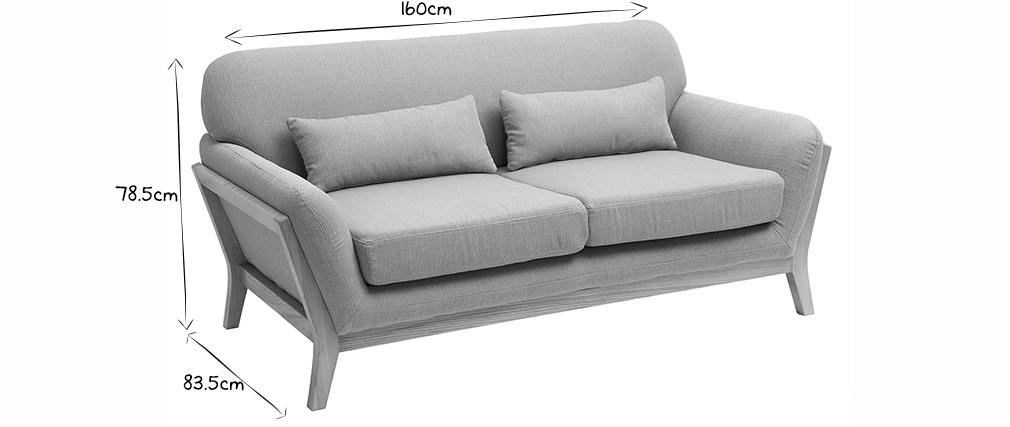 Sofa skandinavisch 2 Plätze Lagunenblau Holzbeine YOKO