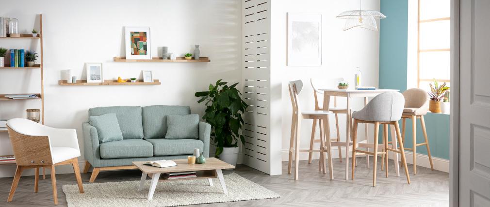 Sofa skandinavisch 2 Plätze Lagunenblau und helle Holzbeine OSLO
