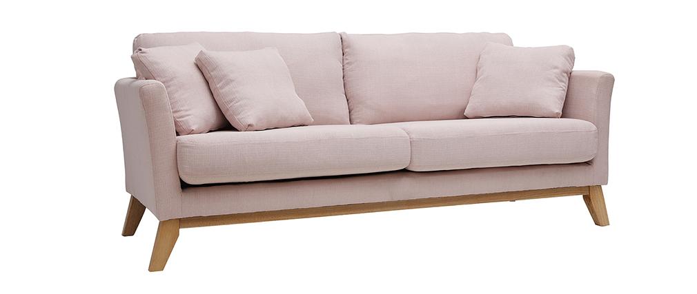 Sofa skandinavisch 3 Plätze Bezug abnhembar Rosa OSLO