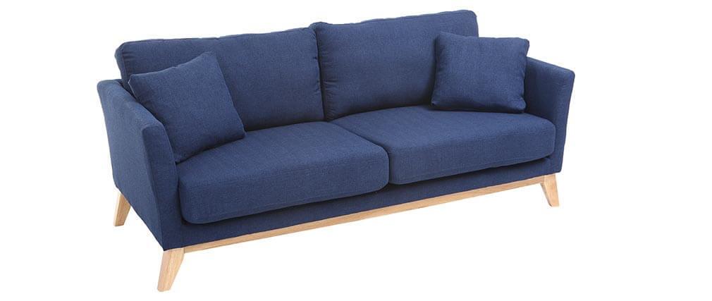 sofa skandinavisch 3 pl tze dunkelblau holzbeine oslo miliboo. Black Bedroom Furniture Sets. Home Design Ideas