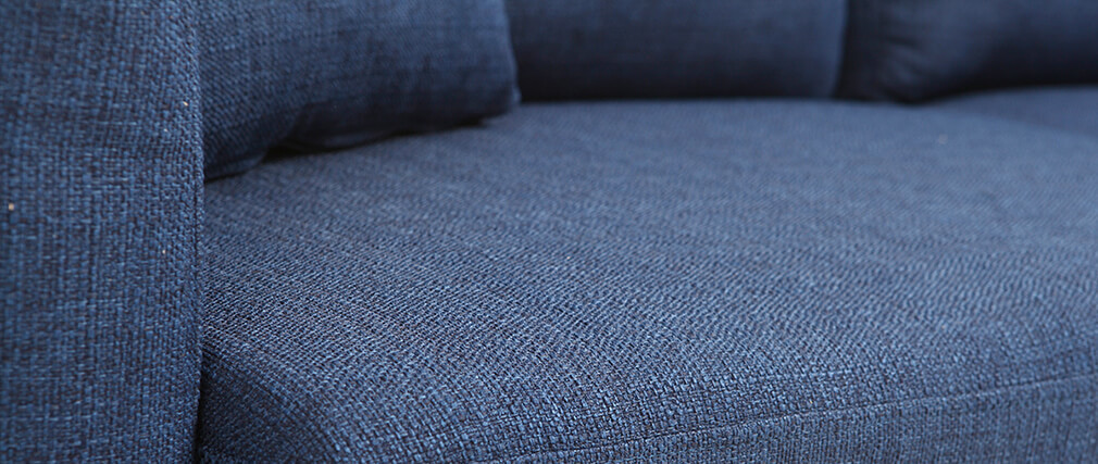 Sofa skandinavisch 3 Plätze Dunkelblau Holzbeine OSLO