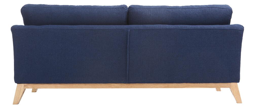 sofa skandinavisch 3 pl tze dunkelblau holzbeine oslo. Black Bedroom Furniture Sets. Home Design Ideas