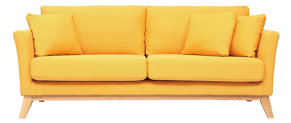 Sofa skandinavisch 3 Plätze Gelb Holzbeine OSLO