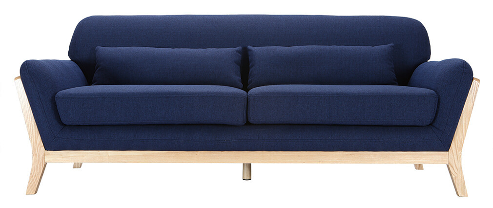 Sofa skandinavisch 3 Plätze Grau Holzbeine YOKO