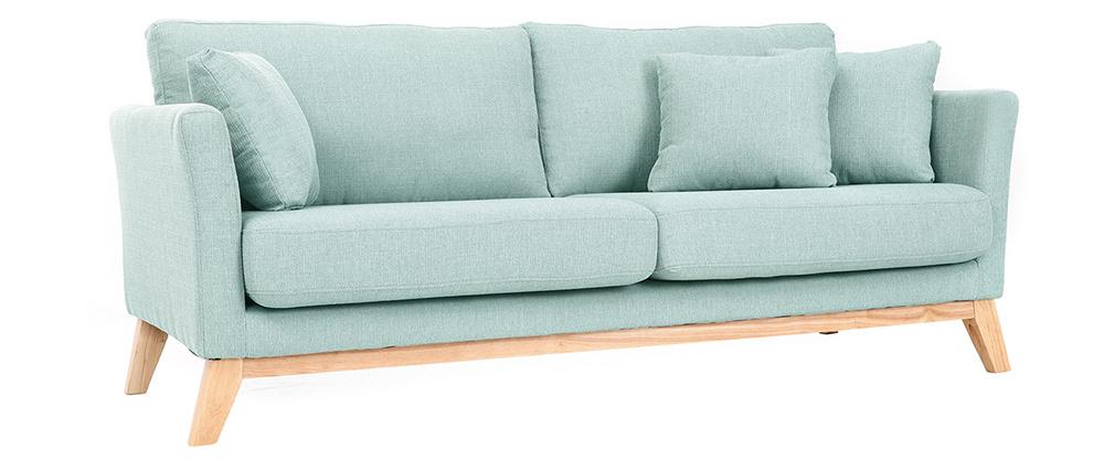 Sofa skandinavisch 3 Plätze Hellblau Holzbeine OSLO