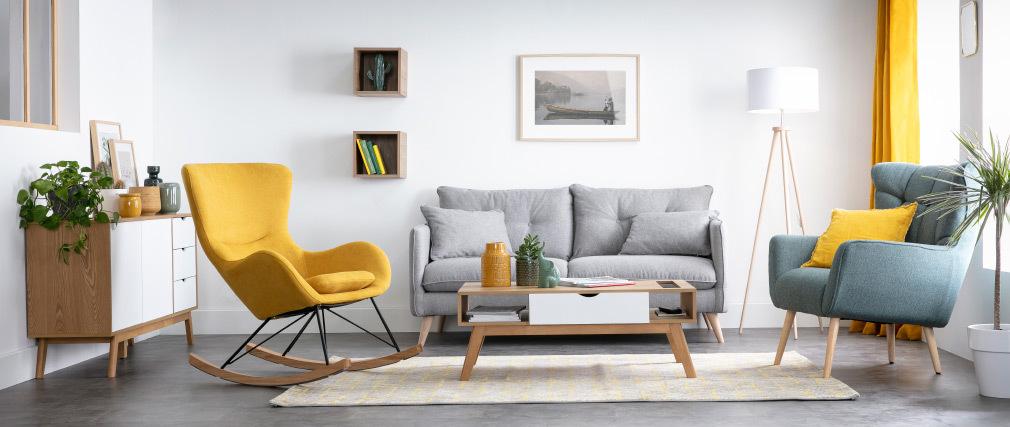 Sofa skandinavisch 3 Plätze hellgrau GUILTY