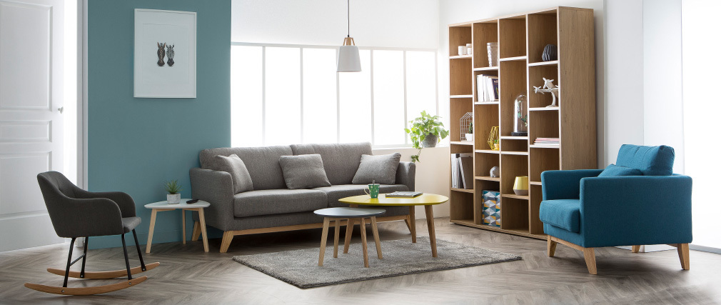 Sofa skandinavisch 3 Plätze Hellgrau Holzbeine OSLO