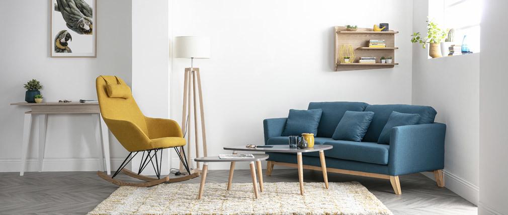 Sofa skandinavisch 3 Plätze Miliboo-Blau Holzbeine OSLO