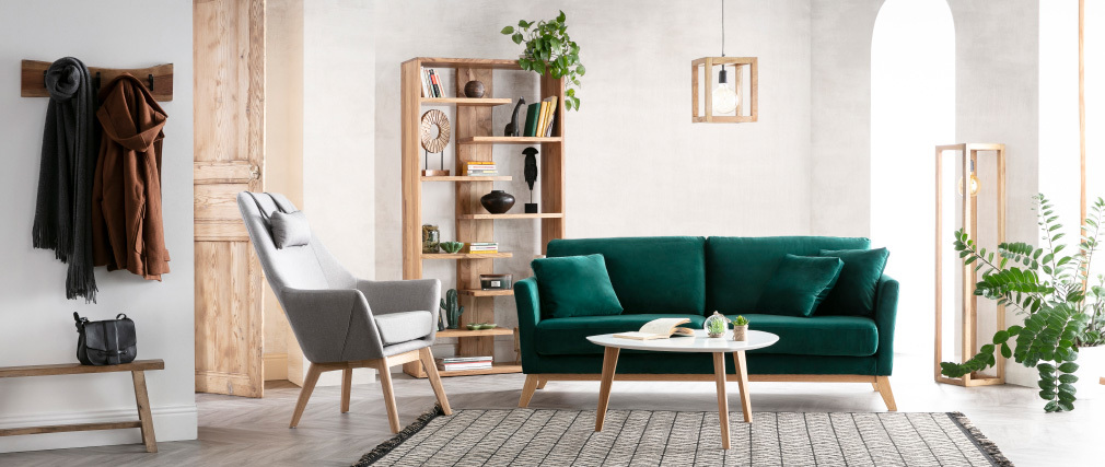 Sofa skandinavisch 3 Plätze Velours Burgunder Holzbeine OSLO