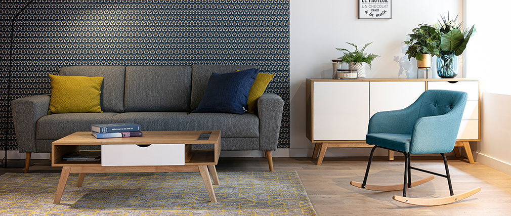Sofa Skandinavisch 3-Sitzer hellgrauer Stoff MOCAZ - Miliboo |1| Stéphane Plaza