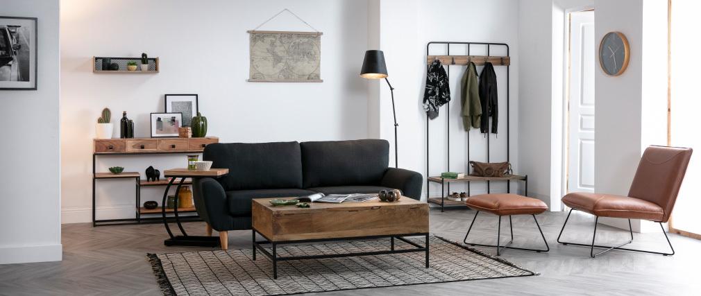 Sofa Skandinavisch anthrazitgrauer Stoff 3-Sitzer ALICE
