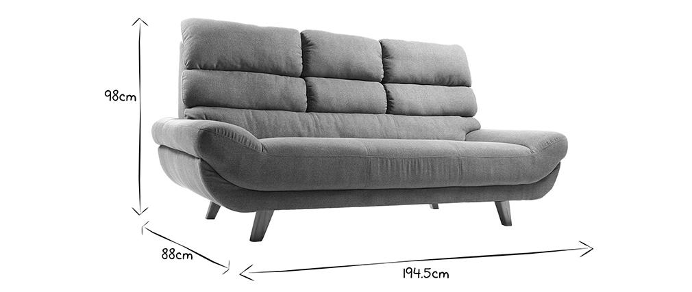 Sofa skandinavisches Design 3 Plätze Grau NORDIK