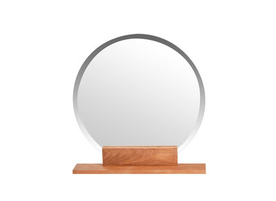 Spiegel Badezimmer rund aus Teakholz Design AOKI