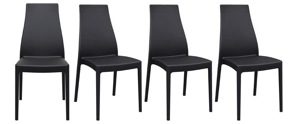 Stapelbare Design-Stühle für innen und außen schwarz (4er-Satz) CONDOR