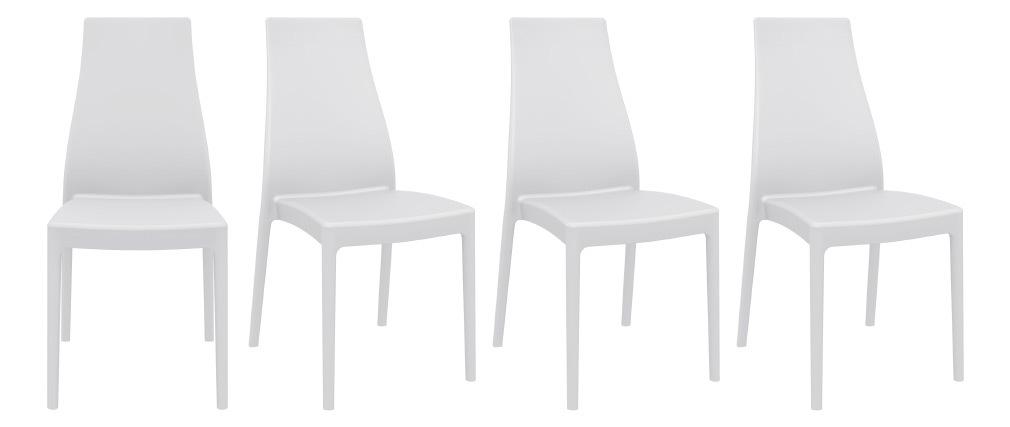 Stapelbare Design-Stühle für innen und außen weiß (4er-Satz) CONDOR