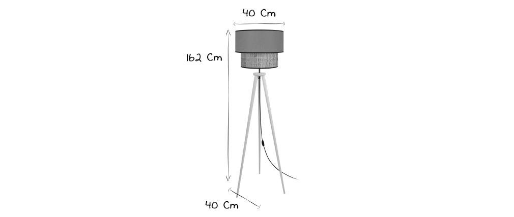 Stehleuchte Bimaterial Jute und graublaues Gewebe D40 cm CHILL