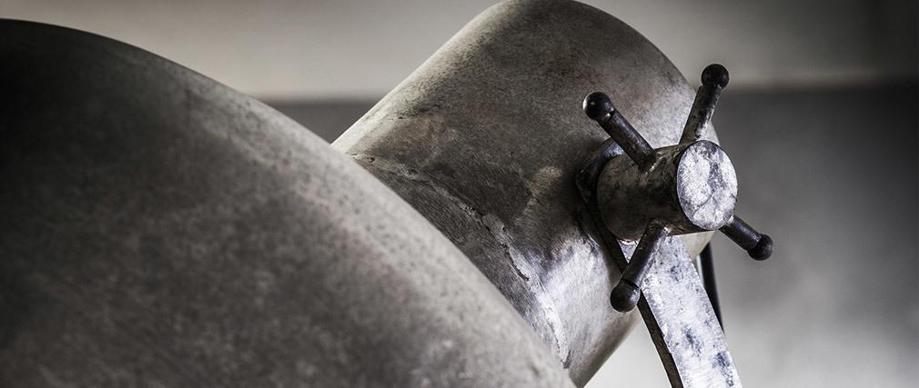 Stehleuchte Industrial auf Rollen aus Metall Vintage WALKER
