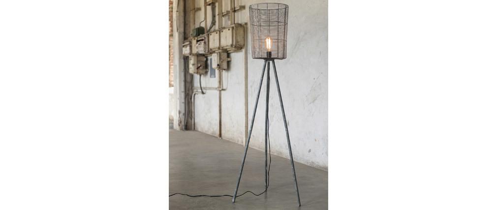 Stehleuchte Industrial Dreifuß Holz und Metall Grau KORB