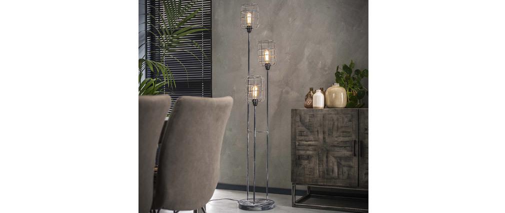 Stehleuchte Industriell aus Metall Grau Vintage 3 Lampen LOFT