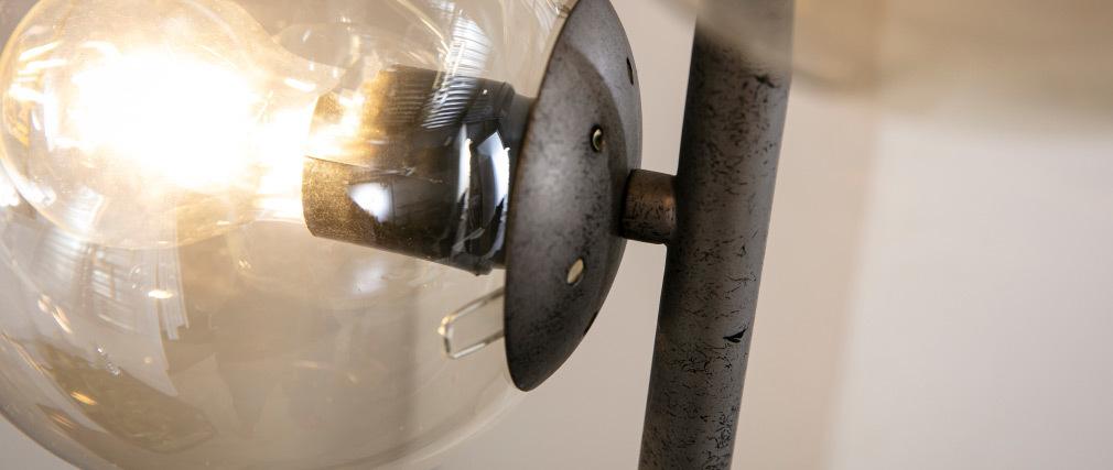 Stehleuchte industriell Glas und Metall Antiksilber Finish GLOB